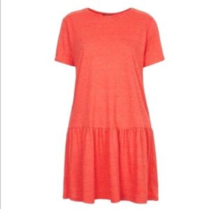 Topshop Dropped Waist T-Shirt Dress Peplum Hem 4